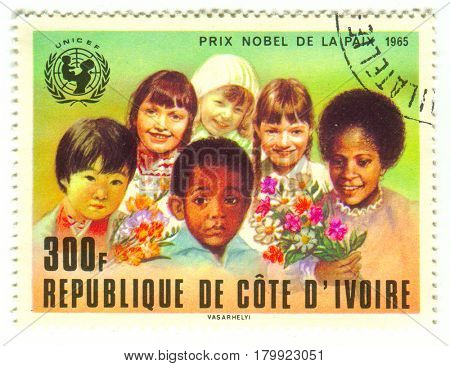 GOMEL, BELARUS, 30 MARCH 2017, Stamp printed in Ivory Coast shows image of the Nobel Peace Prize is one of the five Nobel Prizes created by Alfred Nobel, circa 1965.