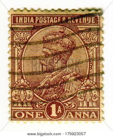 GOMEL, BELARUS, 1 APRIL 2017, Stamp printed in India shows image of the George V  was King of the United Kingdom and the British Dominions, and Emperor of India, circa 1926  .