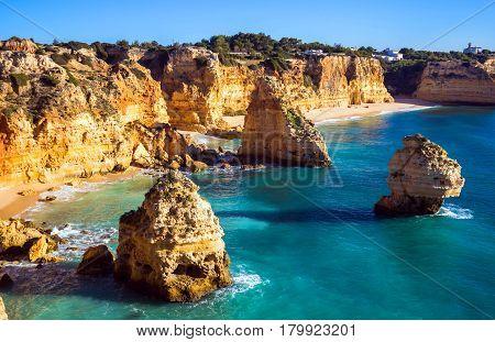 View of Praia da Marinha, Algarve region, Portugal