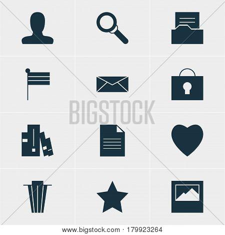 Vector Illustration Of 12 Web Icons. Editable Pack Of Keyhole, Document Directory, Landscape Photo Elements.