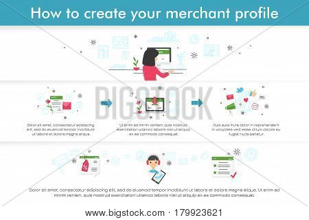 Infographic about how to create merchant profile. Flat line design. Modern cute vector illustration.