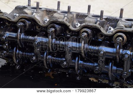 The Head Of The Block Of Cylinders. The Head Of The Block Of Cylinders Removed From The Engine For R