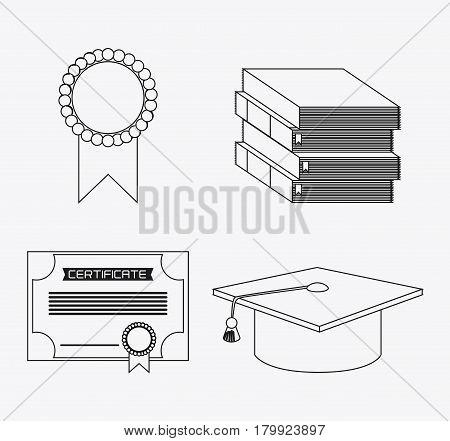 graduation cap diploma book seal graduate university grad icon. Silhouette and flat illustration. Vector graphic