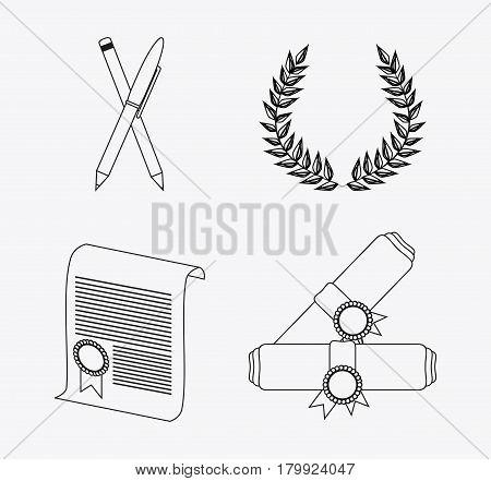 wreath pencil diploma graduate university grad icon. Silhouette and flat illustration. Vector graphic