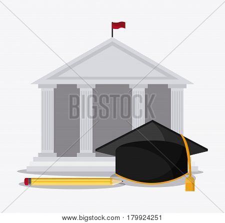 graduation cap building pencil university grad icon. Colorfull and flat illustration. Vector graphic