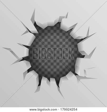 Brick wall Hollow crack hole background transparent vector illustration