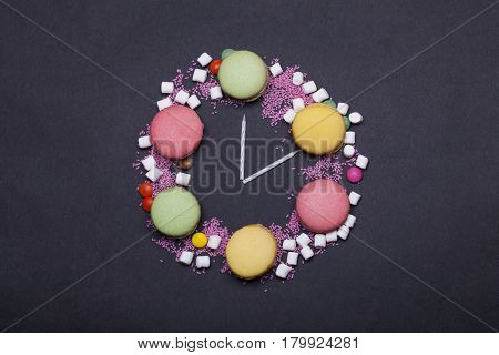 Colorful Macaron, Dragee Sweets, Marshmallow, Zephyr, Sprinkles And Candles