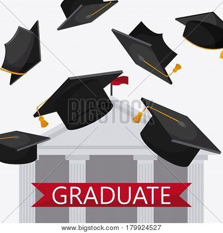graduation cap building university grad icon. Colorfull and flat illustration. Vector graphic