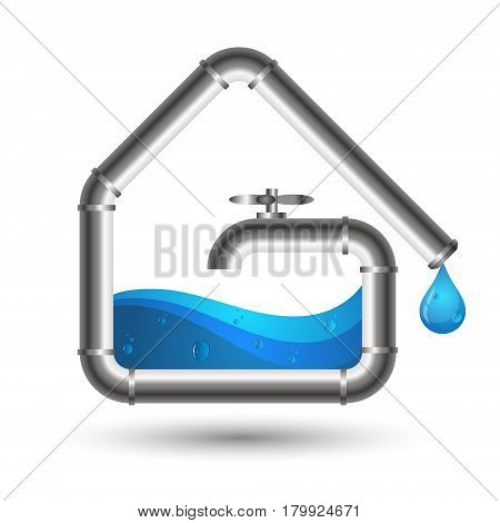 Water pipes and a drop of water. Design for repair and maintenance of plumbing.