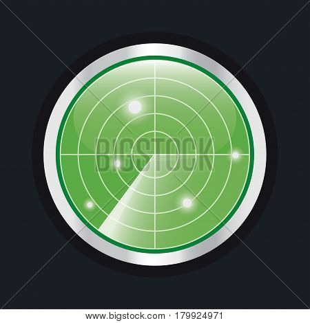 Radar screen. HUD interface element. Radar display with scanning. Vector illustration isolated on black.