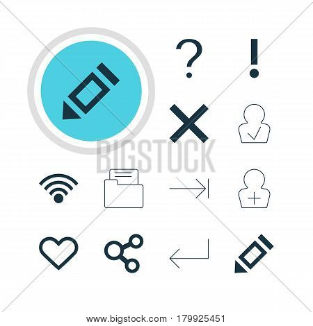Vector Illustration Of 12 Interface Icons. Editable Pack Of Register Account, Pen, Cordless Connection And Other Elements.
