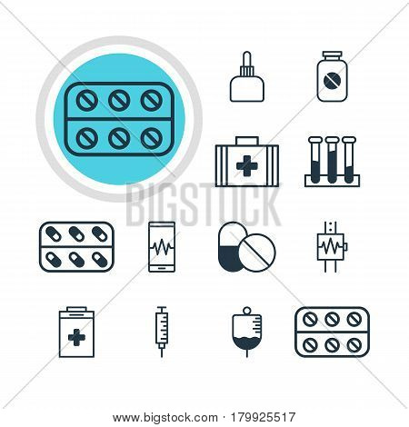 Vector Illustration Of 12 Health Icons. Editable Pack Of Exigency, Medicine, Antibody And Other Elements.