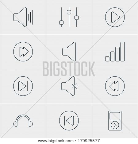 Vector Illustration Of 12 Music Icons. Editable Pack Of Advanced, Volume Up, Speaker And Other Elements.
