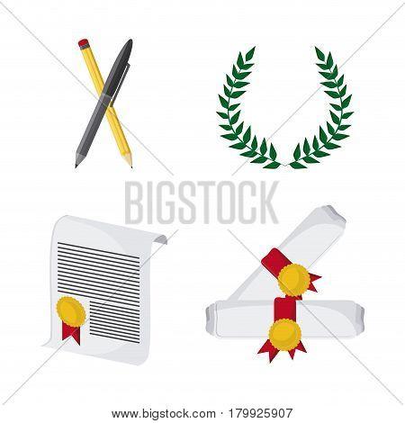 wreath pencil diploma graduate university grad icon. Colorfull and flat illustration. Vector graphic