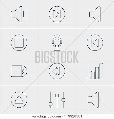 Vector Illustration Of 12 Music Icons. Editable Pack Of Pause, Audio, Volume Up And Other Elements.