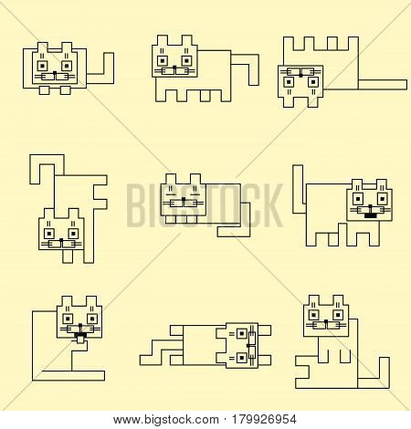 Square linear cats. Vector illustration. Funny cartoon flat cool character. Contour digital drawing cute geometric forms.