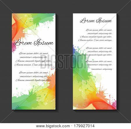 Vector leaflets flyers brochure blank template with metamorphosis of lines curves rainbow watercolor splashes and place for text for your design.