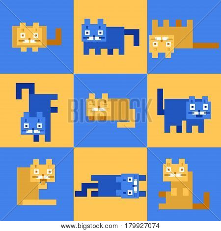 flat corner yellow blue cats on mosaic background. vector illustration. funny cartoon flat cool character.