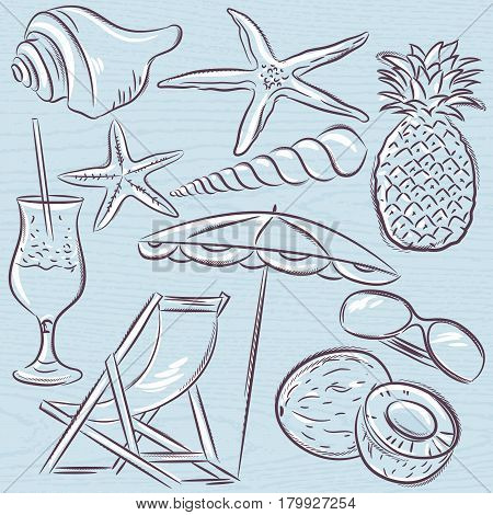 Set of summer symbols clams shells cocktail starfish umbrella lounge fruit on a blue grunge background vector illustration.