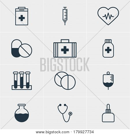 Vector Illustration Of 12 Health Icons. Editable Pack Of Heart Rhythm, Antibody, Vial And Other Elements.