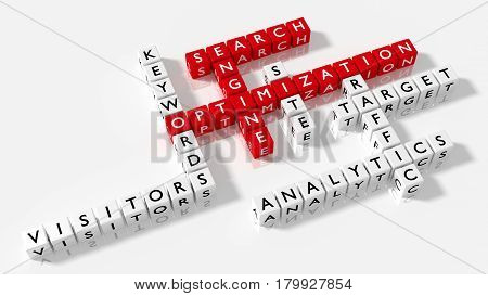 Crossword puzzle showing search engine optimization keywords as dice on a white board SEO concept 3D illustration