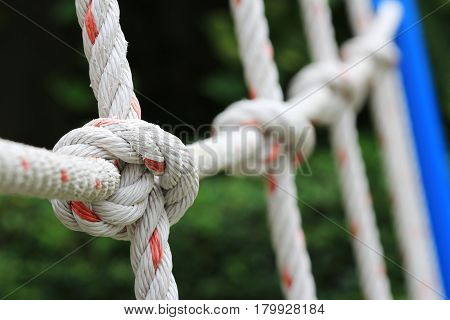 Knots of Climbing Net Close up Playground Equipment