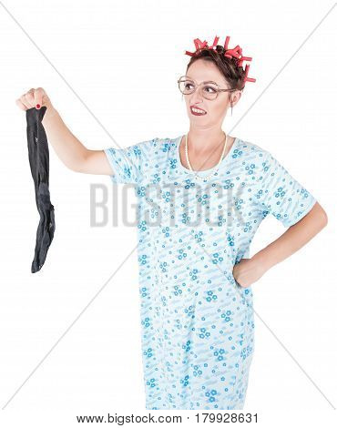 Funny Stereotypical Housewife With Man Sock Bad Smell