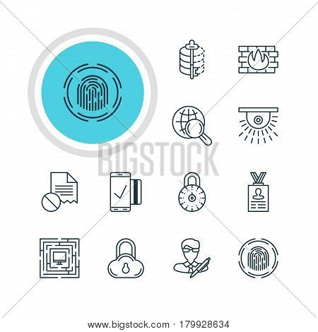 Vector Illustration Of 12 Data Protection Icons. Editable Pack Of Network Protection, Finger Identifier, Camera And Other Elements.