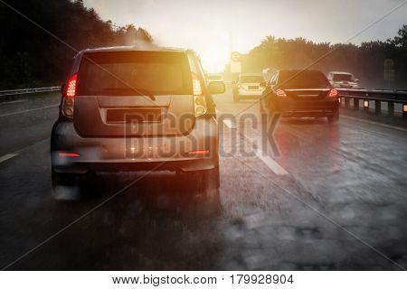 Highway Traffic Jam During Heavy Raining Day