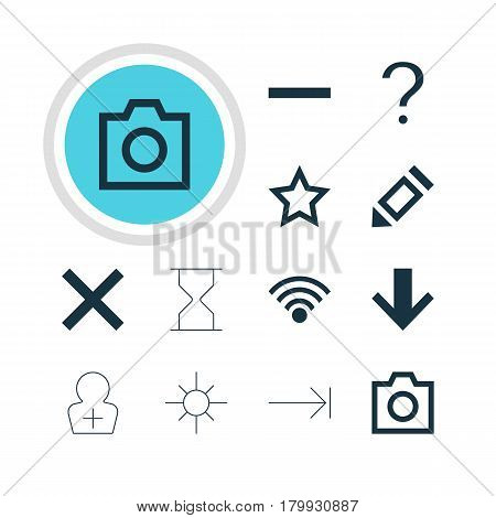 Vector Illustration Of 12 Interface Icons. Editable Pack Of Sunshine, Tabulation Button, Register Account And Other Elements.