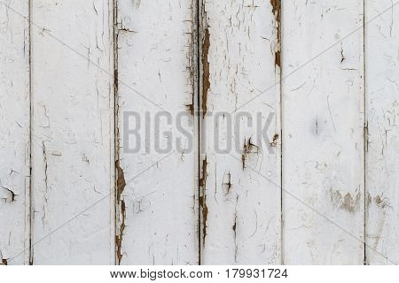 Wooden Slats Background with exfoliating White Gloss Paint