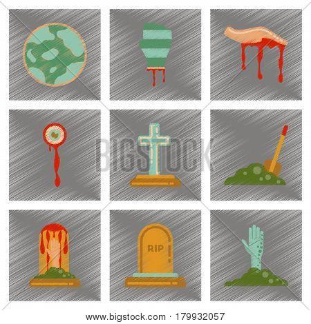 assembly flat shading style icons of halloween zombie full moon hand grave Plot shovel