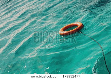 Life buoy in the sea with copy space.