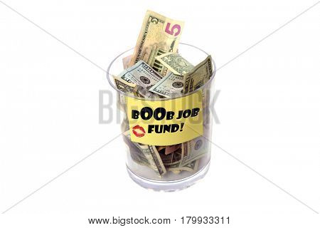 Tip Jar isolated on white with room for your text. Label says bOOb Job Fund!