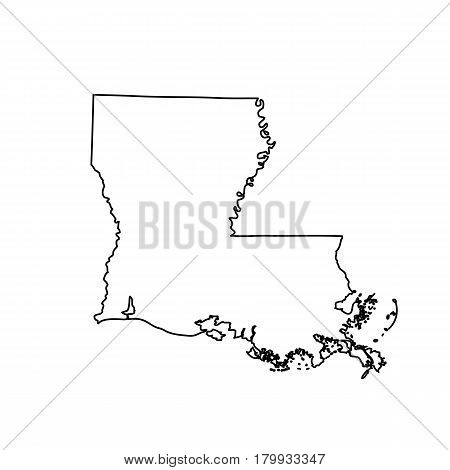 Map of the U.S. state Louisiana. Vector illustration