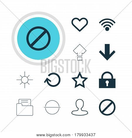 Vector Illustration Of 12 User Icons. Editable Pack Of Sunshine, Padlock, Asterisk And Other Elements.