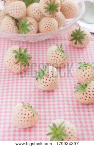 Pineberries or Hula Berry a hybrid strawberry with a pineapple flavor white flesh and red seeds focus on the centre berry