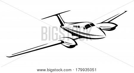 Small private twin engine airplane flying  illustration