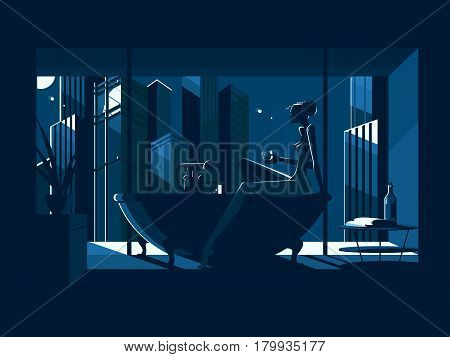 Silhouette of beautiful naked girl in bath at night. Vector illustration