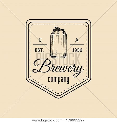 Kraft beer can logo. Old brewery icon. Lager retro sign. Hand sketched ale illustration. Vector vintage label or badge