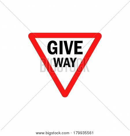 Give way sign - Danger Triangle Road sign isolated on white background