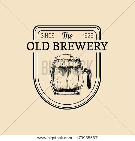 Kraft beer mug logo. Lager cup retro sign. Hand sketched ale glass illustration. Vector vintage homebrewing label or badge.