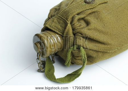 Army water canteen isolated on a white background