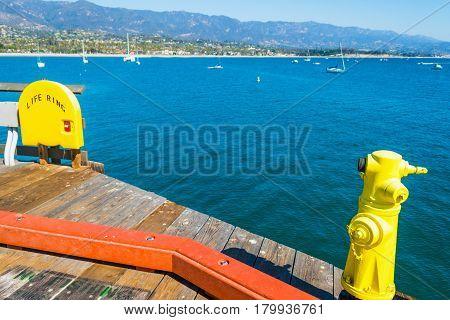 Yellow hydrant in Santa Barbara pier California