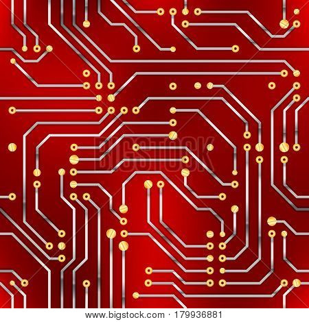 Complicated computer microchip, seamless pattern on red background