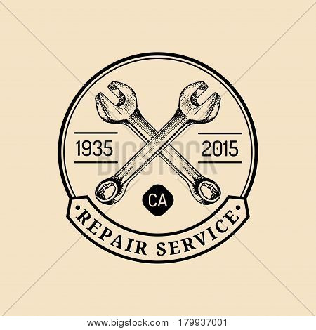 Vector vintage motorcycle repair logo. Retro garage label with hand sketched wrenches. Custom chopper store emblem. Biker club sign.