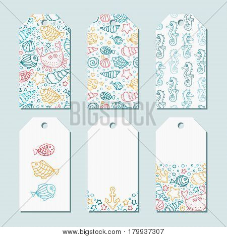 Vector set of six tags. Sea theme label with hand drawn doodle elements. Fish crab seahorse bubbles dots shell anchor. Summer theme. For gifts and greetings. Yellow white blue red colors.