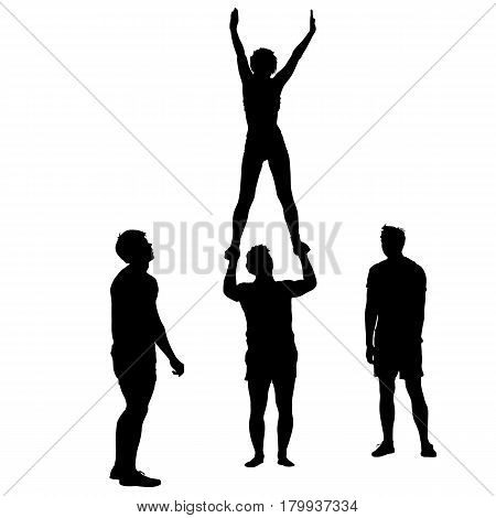 Black silhouette two acrobats show stand on hand. Vector illustration.