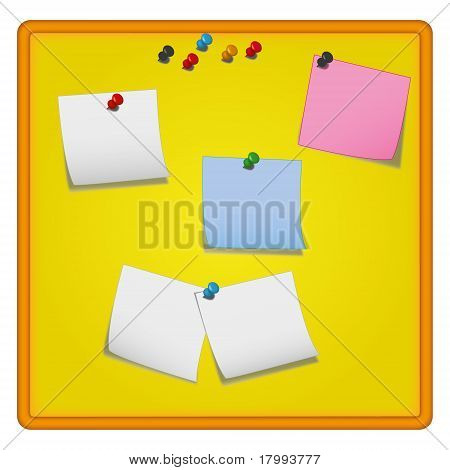 Yellow note-board with colour note-papers