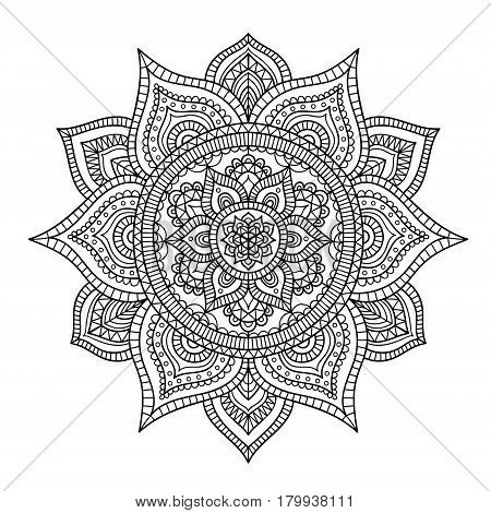 Vector hand drawn doodle tribal mandala. Ethnic mandala with ornament and dots. Isolated. Black and white colors. Outline. Coloring page for everybody.